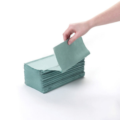 Picture of Green V-fold Towel (1Ply, 24.5cm x 22.2cm, Pack of 3600)